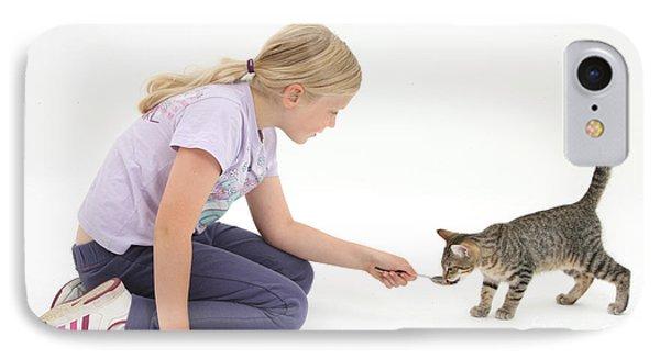 Girl Feeding Kitten From A Spoon IPhone Case