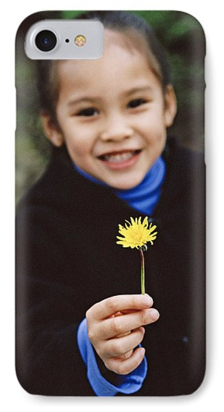 Girl Holding A Flower Phone Case by Ian Boddy