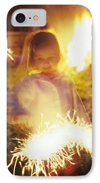 Girl Holding Sparkler IPhone Case by Ian Boddy