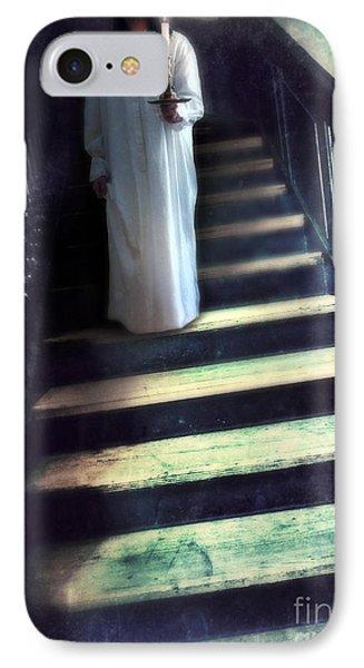 Girl In Nightgown On Steps Phone Case by Jill Battaglia