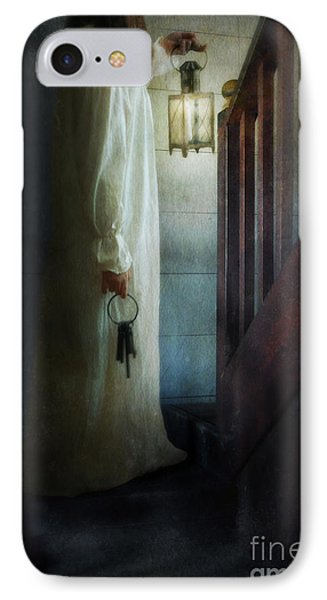 Girl On Stairs With Lantern And Keys Phone Case by Jill Battaglia