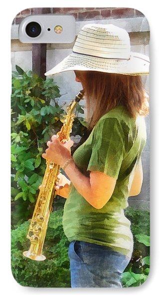 Girl Playing Saxophone Phone Case by Susan Savad