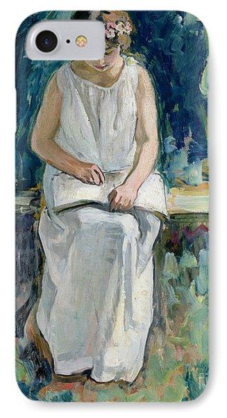Girl Reading Phone Case by Henri Lebasque