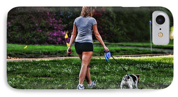 Girl Walking Dog Phone Case by Paul Ward