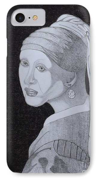 IPhone Case featuring the drawing Girl With A Pearl Earring by Gerald Strine