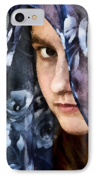 Girl With A Rose Veil 3 Illustration IPhone Case