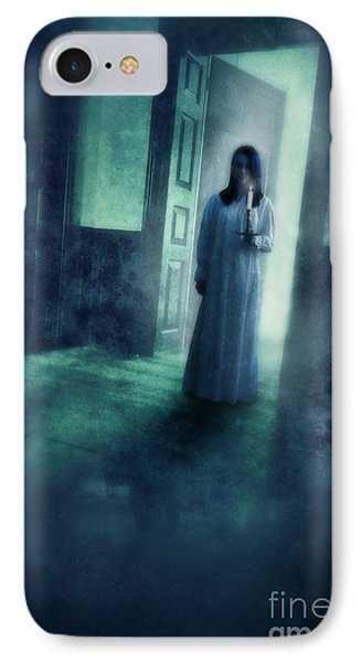 Girl With Candle In Doorway Phone Case by Jill Battaglia