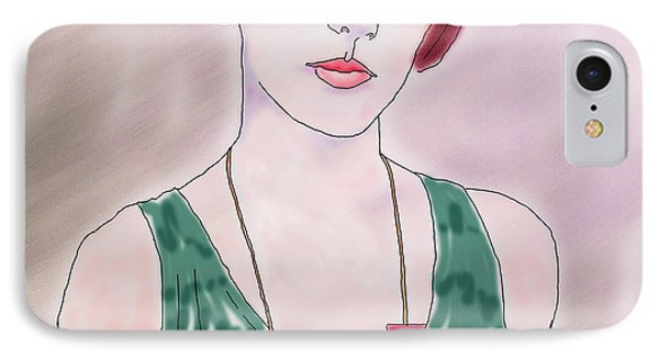 IPhone Case featuring the digital art Girl With Necklace by Ginny Schmidt