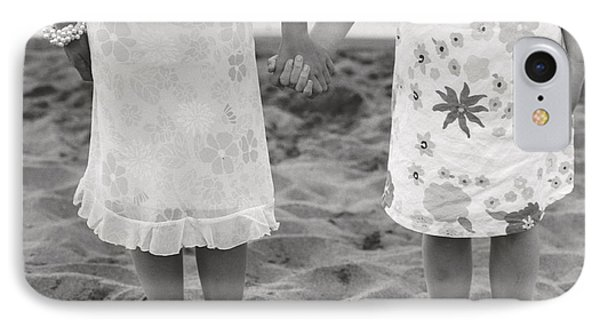 Girls Holding Hand On Beach Phone Case by Michelle Quance