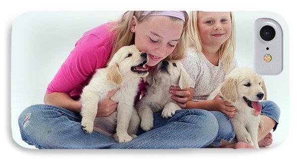 Girls With Puppies Phone Case by Jane Burton