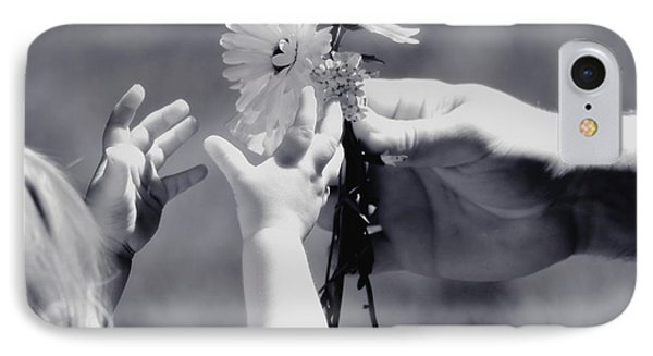 Giving Her Flowers Sweet Baby Hands IPhone Case by Tracie Kaska