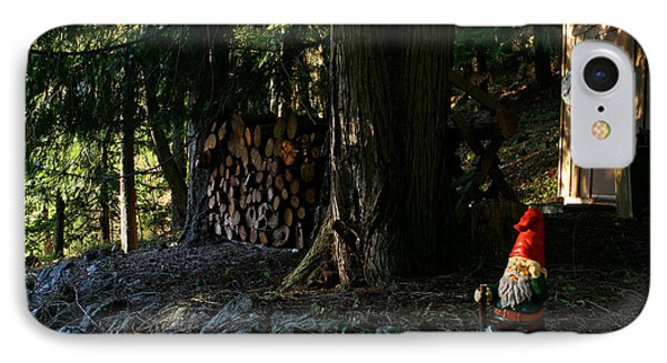 Gnome And The Woodpile Phone Case by Lorraine Devon Wilke