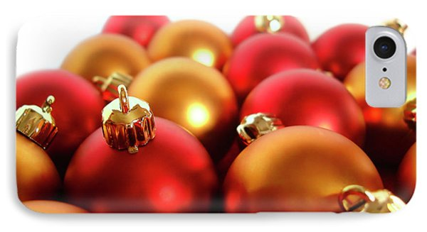Gold And Red Xmas Balls Phone Case by Carlos Caetano