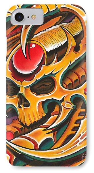 Gold Biomech Skull IPhone Case by Joe Riley
