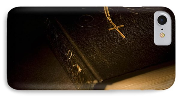 Gold Cross Pendant Resting On A Book Phone Case by Philippe Widling