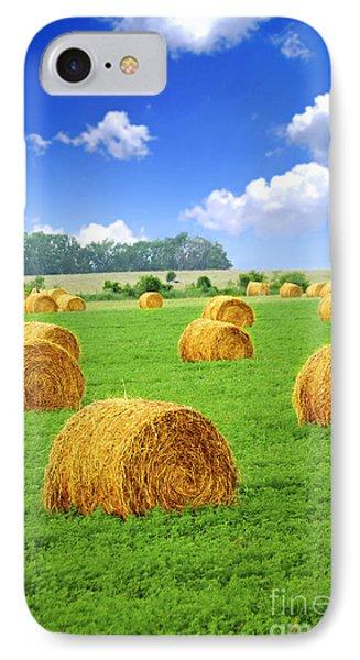 Golden Hay Bales In Green Field IPhone Case by Elena Elisseeva