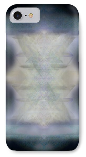 IPhone Case featuring the digital art Golden Light Chalices Emerging From Blue Vortex Myst by Christopher Pringer