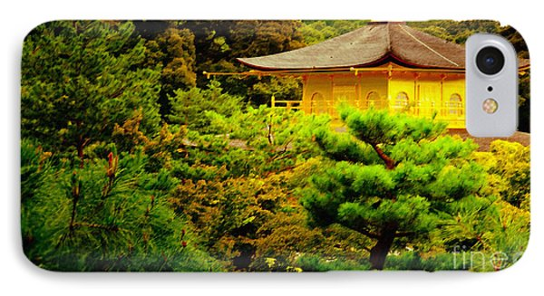 Golden Pavilion Temple In Kyoto Glowing In The Garden Phone Case by Andy Smy
