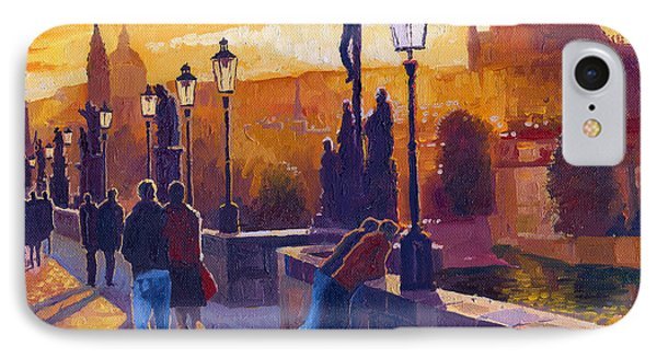 Golden Prague Charles Bridge Sunset IPhone Case by Yuriy  Shevchuk