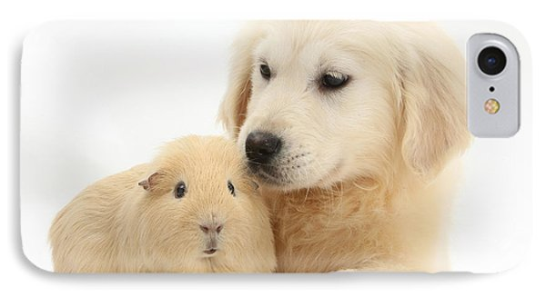 Golden Retriever Pup And Yellow Guinea Phone Case by Mark Taylor