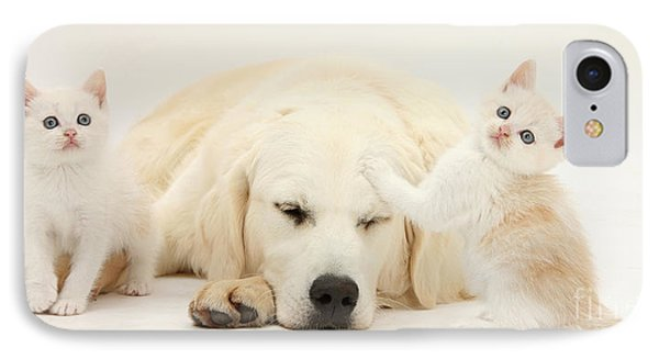 Golden Retriever With Two Kittens Phone Case by Mark Taylor