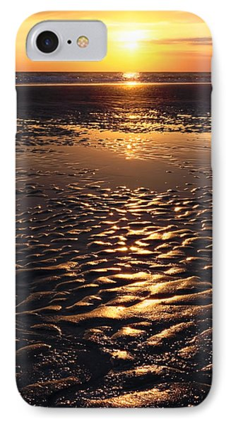 Golden Sunset On The Sand Beach Phone Case by Setsiri Silapasuwanchai