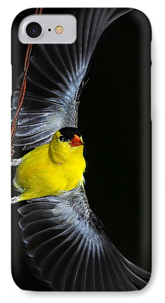 IPhone Case featuring the photograph Goldfinch High Wire Act by Randall Branham