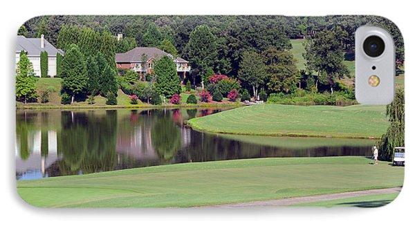 Golfer At Lake  Phone Case by Susan Leggett