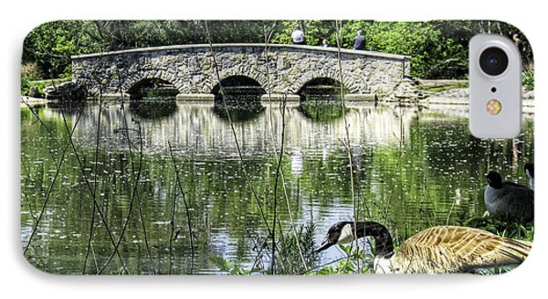 IPhone Case featuring the photograph Goose And Bridge At Silver Lake by Tom Gort