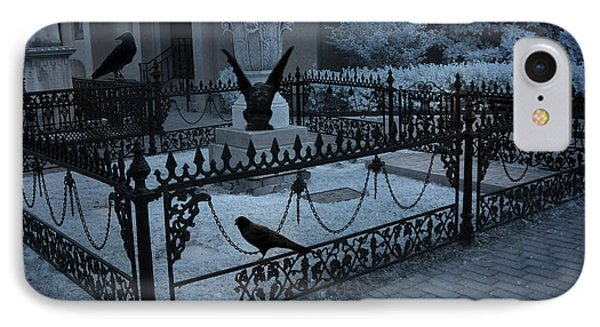 Gothic Surreal Night Gargoyle And Ravens - Moonlit Cemetery With Gargoyles Ravens IPhone Case