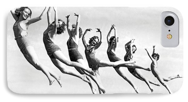 Graceful Line Of Beach Dancers IPhone Case by Underwood Archives