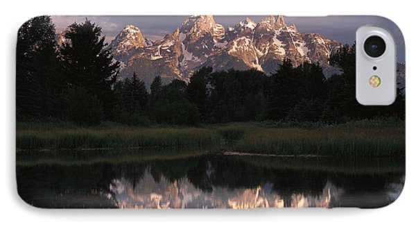 Grand Teton Range And Cloudy Sky Phone Case by Tim Fitzharris