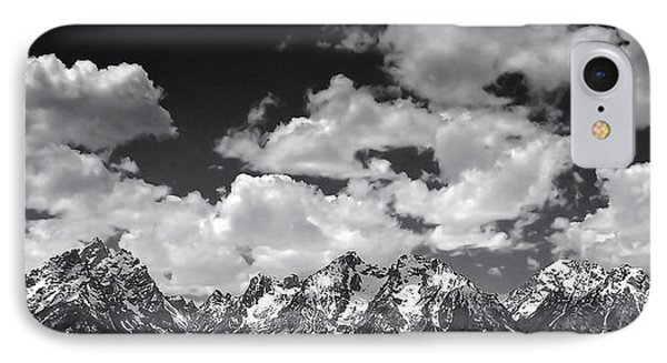 Grand Tetons Panorama In Monochrome IPhone Case by Ellen Heaverlo