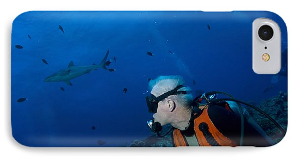Gray Reef Shark With Diver, Papua New Phone Case by Steve Jones