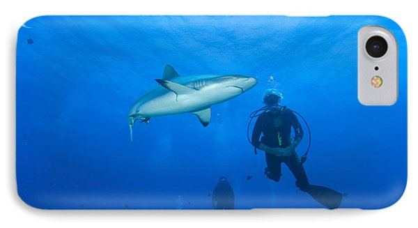 Gray Reef Shark With Divers, Papua New Phone Case by Steve Jones