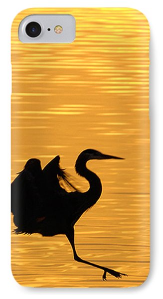 IPhone Case featuring the photograph Great Blue Heron Landing In Golden Light by Randall Branham