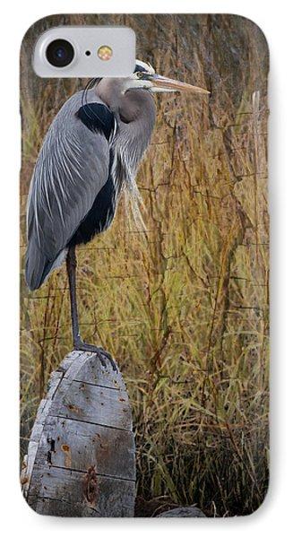 Great Blue Heron On Spool Phone Case by Debra and Dave Vanderlaan