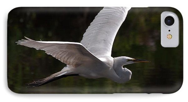 IPhone Case featuring the photograph Great Egret Flying by Art Whitton