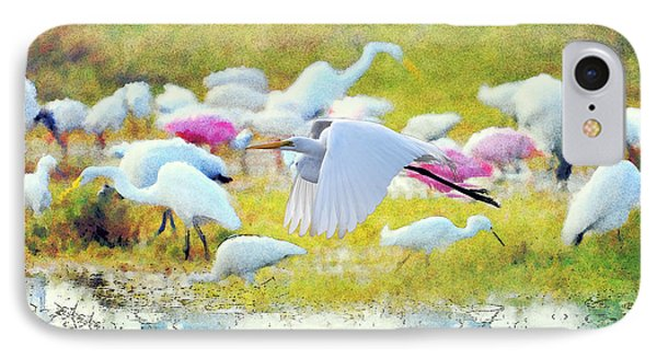 IPhone Case featuring the photograph Great Egret Flying by Dan Friend