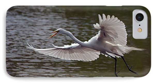 IPhone Case featuring the photograph Great Egret In Flight by Art Whitton