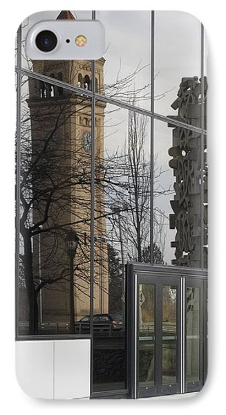 Great Northern Clocktower Reflection - Spokane Washington Phone Case by Daniel Hagerman