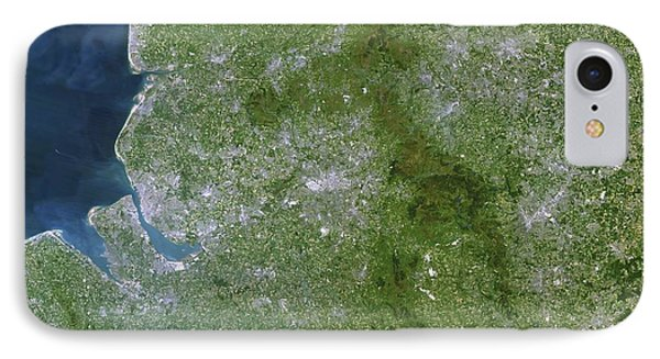 Greater Manchester, Satellite Image Phone Case by Planetobserver