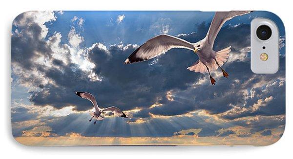 Greek Gulls With Sunbeams IPhone Case by Meirion Matthias