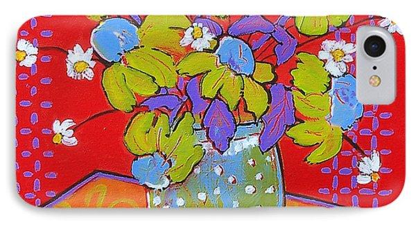 Green Daisy Bouquet Phone Case by Blenda Studio