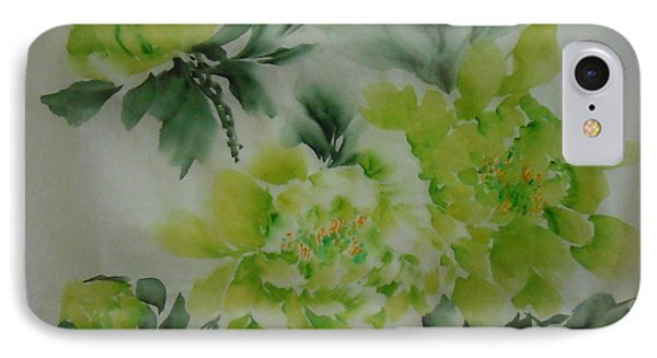 IPhone Case featuring the painting Green Flower ----- 001 by Dongling Sun