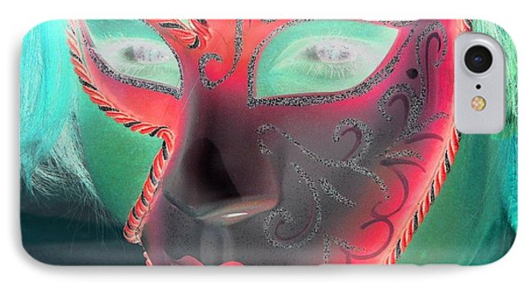 Green Girl With Red Mask IPhone Case by Rdr Creative