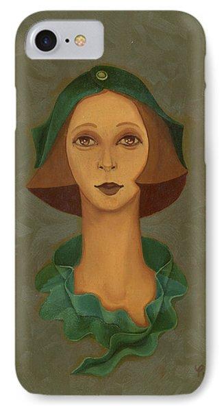 Green Hat Carre Woman Face  Phone Case by Rachel Hershkovitz