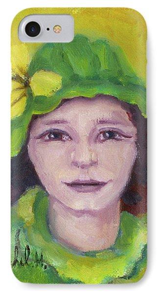 Green Hat Face IPhone Case by Rachel Hershkovitz
