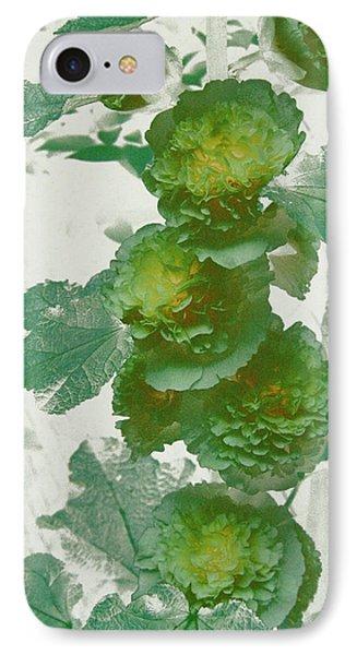 Green Hollyhocks IPhone Case by Tom Wurl