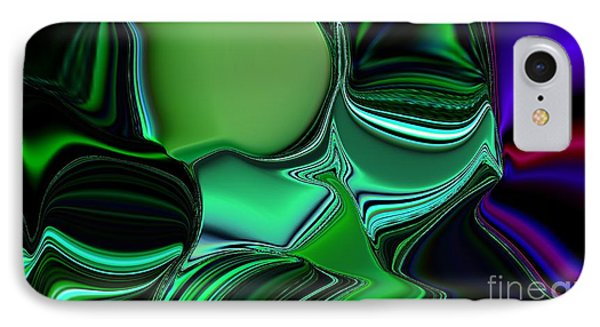 IPhone Case featuring the digital art Green Nite Distortion 3 by Greg Moores